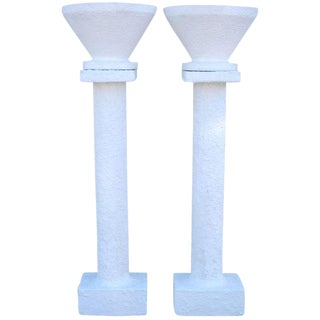 French Mid-Century Concrete Planter Pedestals - Pair