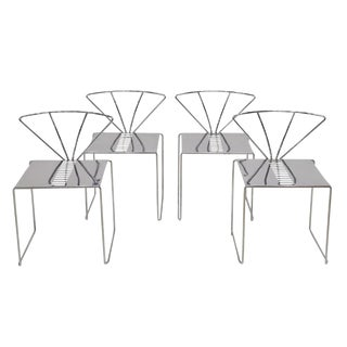 1970s Italian Design Steel Dining or Side Chairs- Set of 4