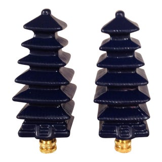 Navy Blue Lacquered Pagoda Lamp Finials - A Pair