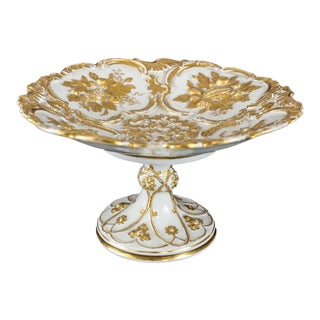 Meissen Germany Porcelain Gold Grape Leaf & Fruit Pedestal Bowl Compote, Circa 1900
