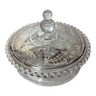 Vintage Imperial Candlewick Silver Overlay Divided & Lided Dish