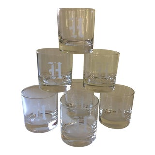 """""""H""""Etched Monogram Crystal Lo-Ball Glasses - Set of 7"""