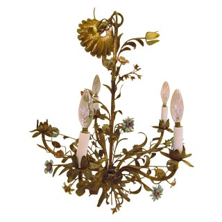 Italian Tole Hand Crafted Metal Floral Chandelier