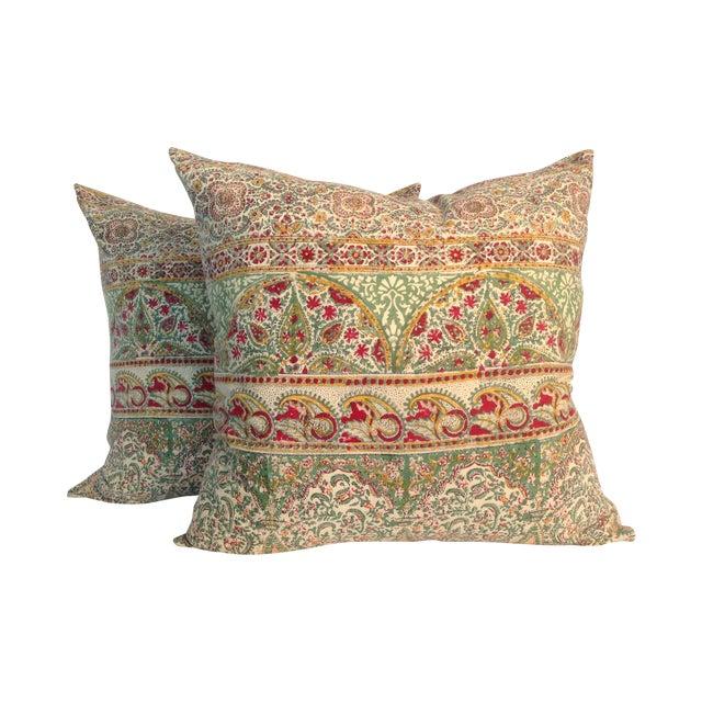 Vintage Block Print Green Kantha Pillows - A Pair - Image 1 of 4