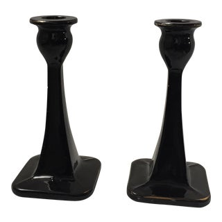 Black Glass Candle Holders - A Pair