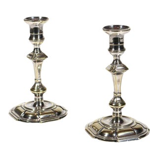 Pair 18th-century Silver-form Brass Candlesticks
