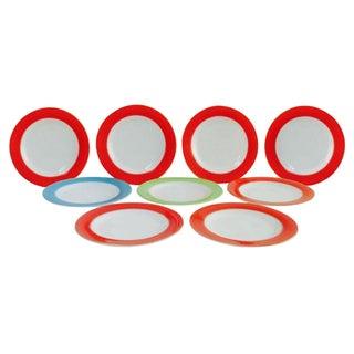 Pyrex Gold Rim White Milk Glass Plates - Set of 9