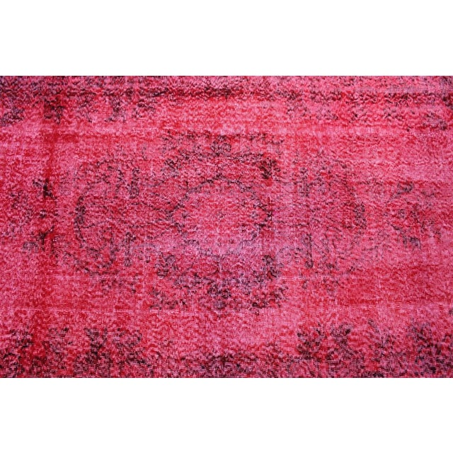 "Vintage Turkish Red Overdyed Rug - 6'2"" X 10'3"" - Image 3 of 8"