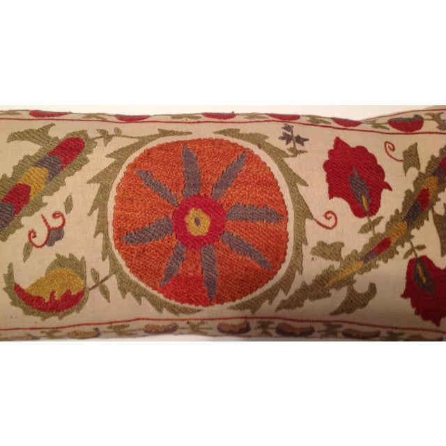 Red & Tan Silk Embrodery Suzani Pillow - Image 4 of 10