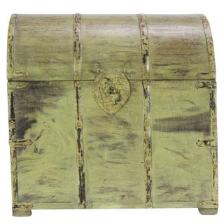 Rustic Colonial Antique Yellow Painted Wine Box