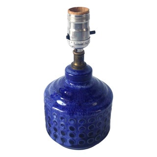 Petite Blue Glazed Mid-Century Lamp