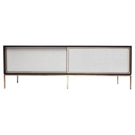 Customizable re: 379 Ebonized Walnut and Painted Cane Credenza - Image 1 of 3