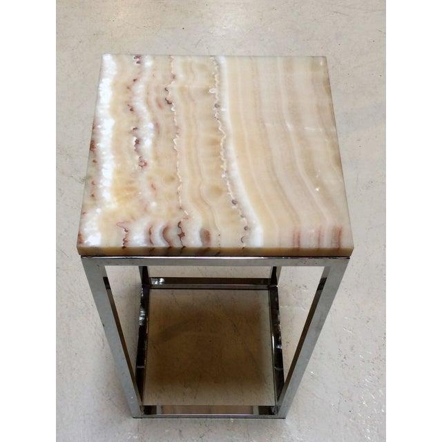 Milo Baughman Chrome & Marble Pedestal - Image 7 of 7