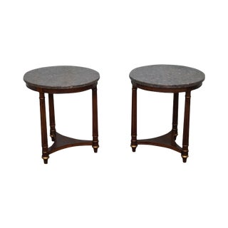 Heritage Round French Empire Style Mahogany Side Tables - A Pair
