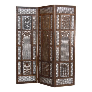 Mid-Century Walnut 3-Panel Folding Screen