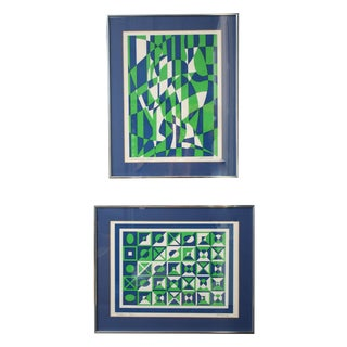 1970s Op Art Blue and Green Serigraphs - A Pair