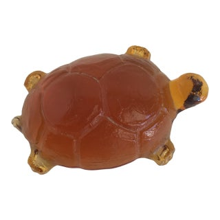 Vintage Amber Glass Turtle Figurine