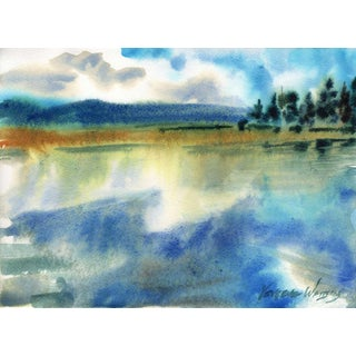 """Lunch on the Lake - Big Bear Lake"" Original Watercolor Painting"