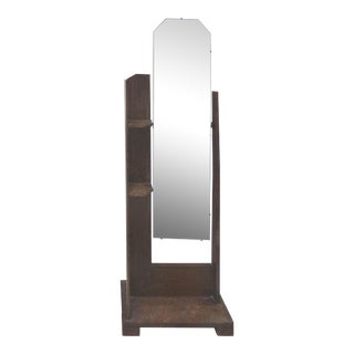 Art Deco/Arts & Crafts Cerused Oak Cheval Floor Mirror