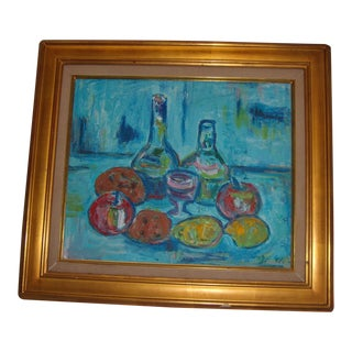 A Nice Colorful 1991 Painting of Still Life Fruit & Bottles