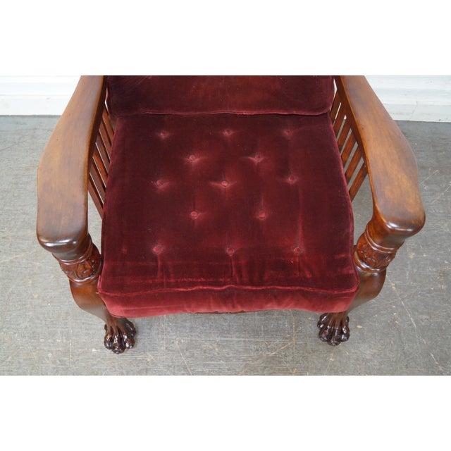 Antique Victorian Mahogany Claw Foot Recliner Morris Chair