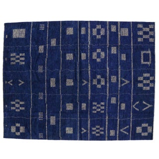 "Cobalt Blue Contemporary Moroccan Style Rug - 10'2"" x 13'"