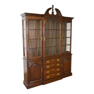 Harden Solid Cherry Chippendale Style Lighted Curio Top China Cabinet Breakfront