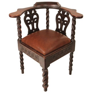 Scottish Chippendale Carved Corner Chair