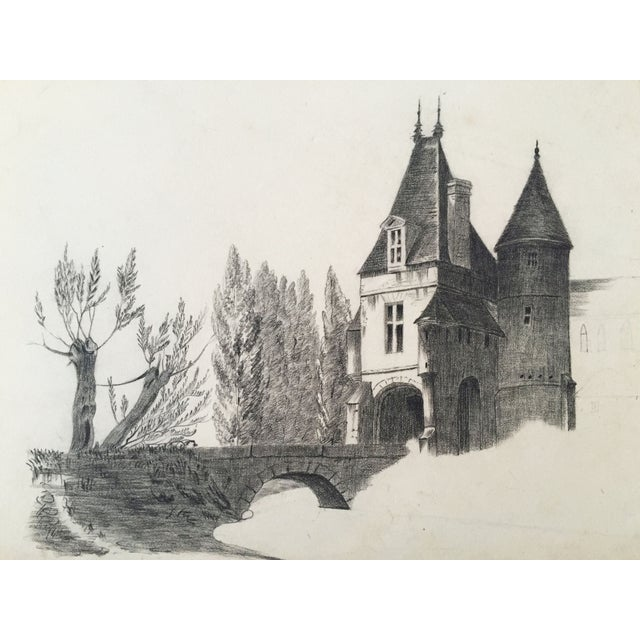 Image of 19th-Century French Chateau Drawing