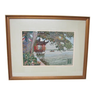 Oriental Asian Teahouse on the Lake Needlepoint