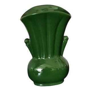 Emerald Green Art Deco Porcelain Fan Vase