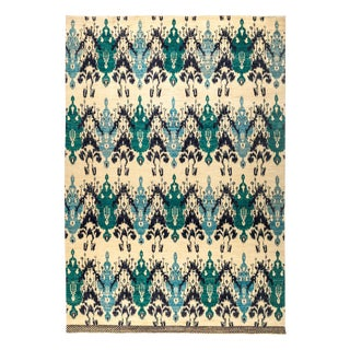 New Ikat Hand Knotted Area Rug - 10' x 14'5""