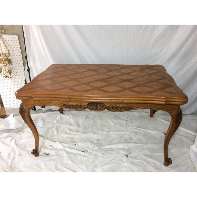 Image of French Oak Inlaid Draw Leaf Dining Table
