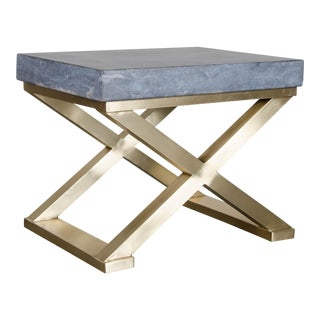 Brass Cross-Leg Table with Stone Top