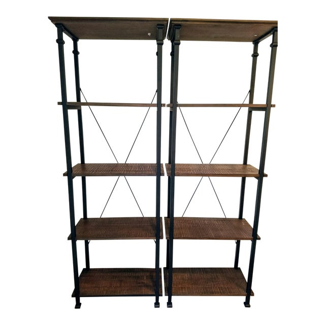Vintage Modern Rustic Bookcases - A Pair - Image 1 of 4