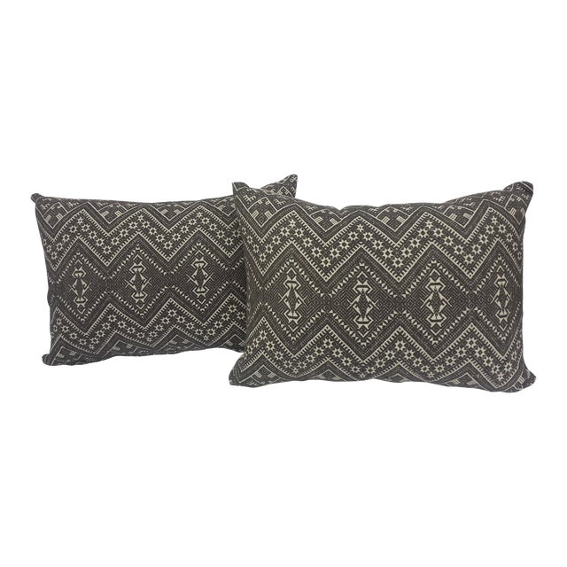 Image of Pair Hand Embroidered Burmese Tribal Pillows
