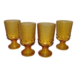 Mid Century Textured Amber Glass Goblets - Set of 4