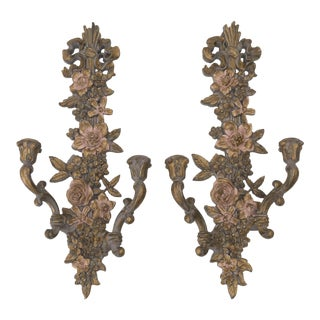 Hollywood Regency Syroco Wall Candle Sconces - a Pair
