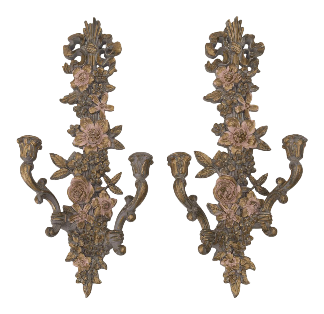 hollywood regency syroco wall candle sconces a pair