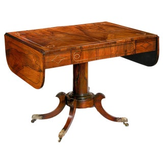 Regency Rosewood & Brass Inlay Sofa Table