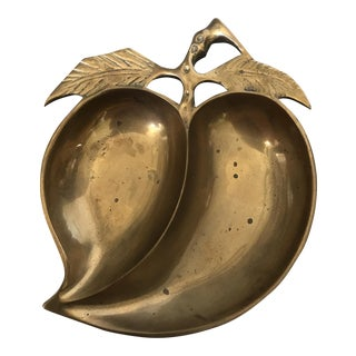 Vintage Brass Peach Dish Catchall