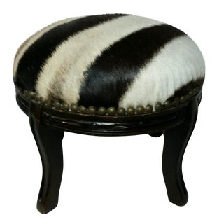 Vintage Round Zebra Hide Footstool