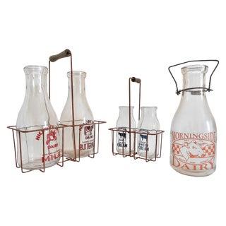 Vintage Milk Bottles & Metal Carriers - Set of 3