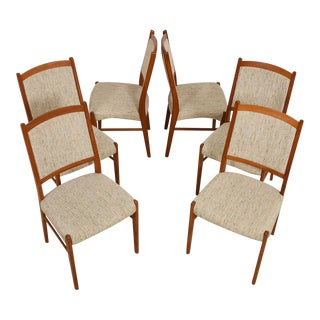 Set of 6 Tall Back Danish Modern Dining Chairs in Teak with Oatmeal Tweed Upholstery