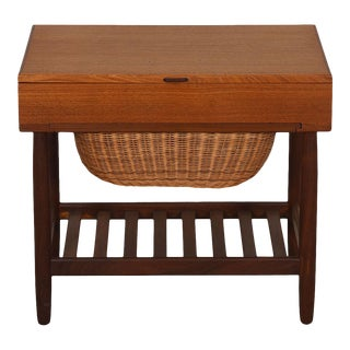 Teak Danish Modern Sewing Table with Compartmental & Basket Storage Plus Shelf