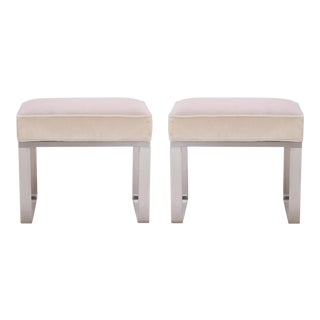 Ritz-Carlton Brushed Steel Ottomans in Italian Velvet - a Pair