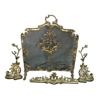 French Brass Fireplace Screen Chenets and Guard