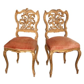 19th-Century Venetian Gilded Chairs - A Pair