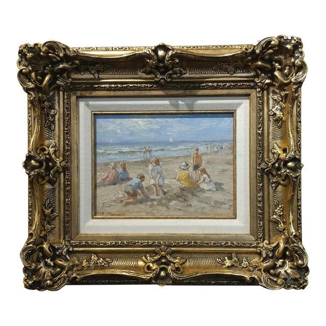 "Anton Karssen ""Children Day at the Beach"" Original Oil Painting - Image 1 of 10"