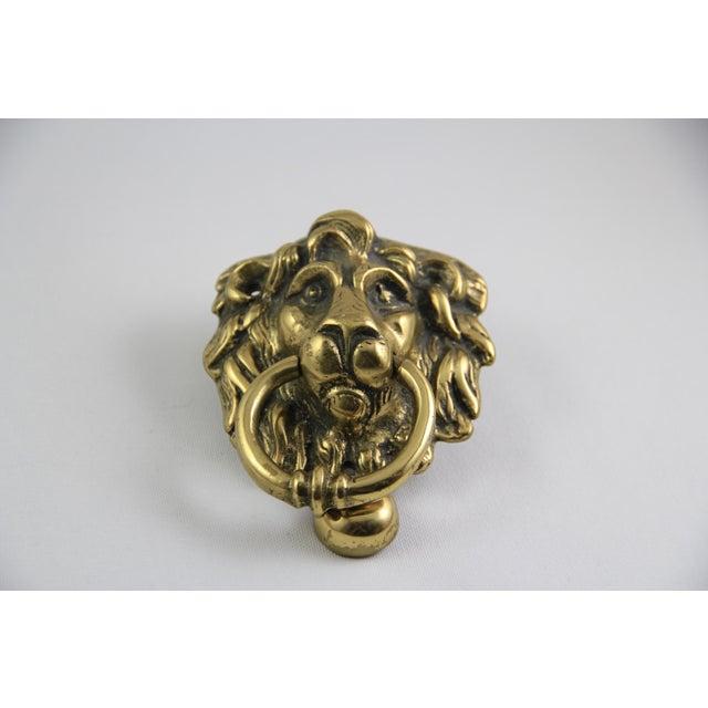 Antique brass lion head door knocker chairish - Brass lion head door knocker ...